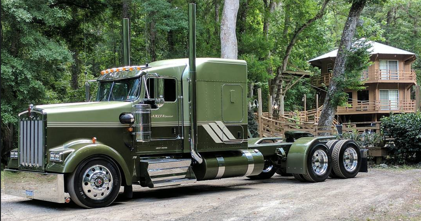 Customized Olive Green Kenworth Truck