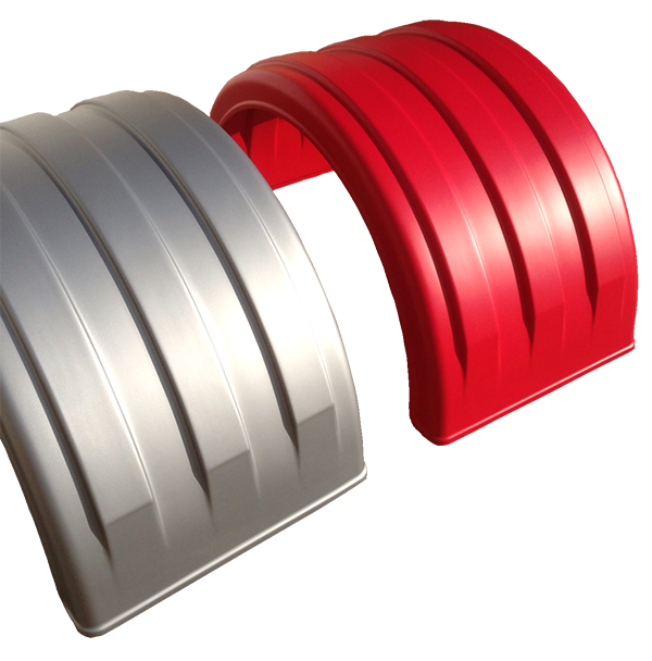 Single Axle Poly Fenders in Silver and Red