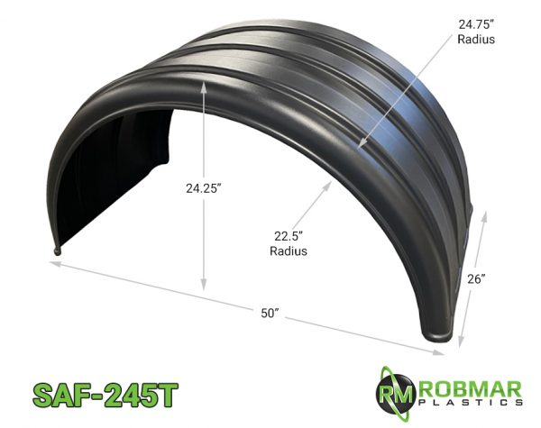 SAF-245T | Single Axle Poly Fender for Tall 24.5 Tires